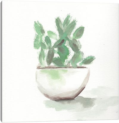 Watercolor Cactus Still Life III Canvas Art Print