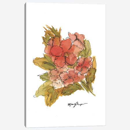 Coral Floral Canvas Print #CHP3} by Marcy Chapman Canvas Wall Art