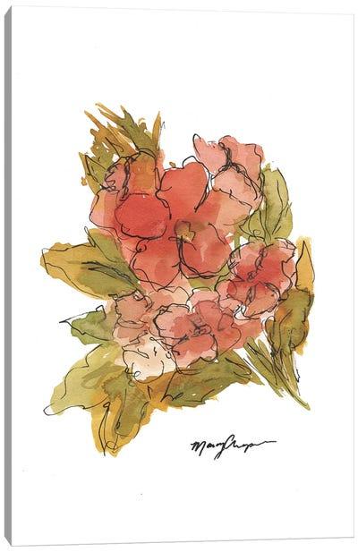 Coral Floral Canvas Art Print