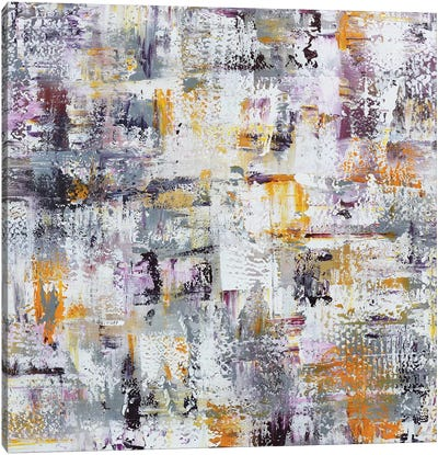 Gold Purple Grey Abstract Canvas Art Print