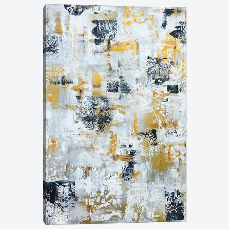 Silver Gray Gold Abstract Canvas Print #CHP8} by Marcy Chapman Canvas Wall Art