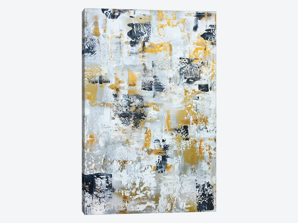 Silver Gray Gold Abstract by Marcy Chapman 1-piece Canvas Art