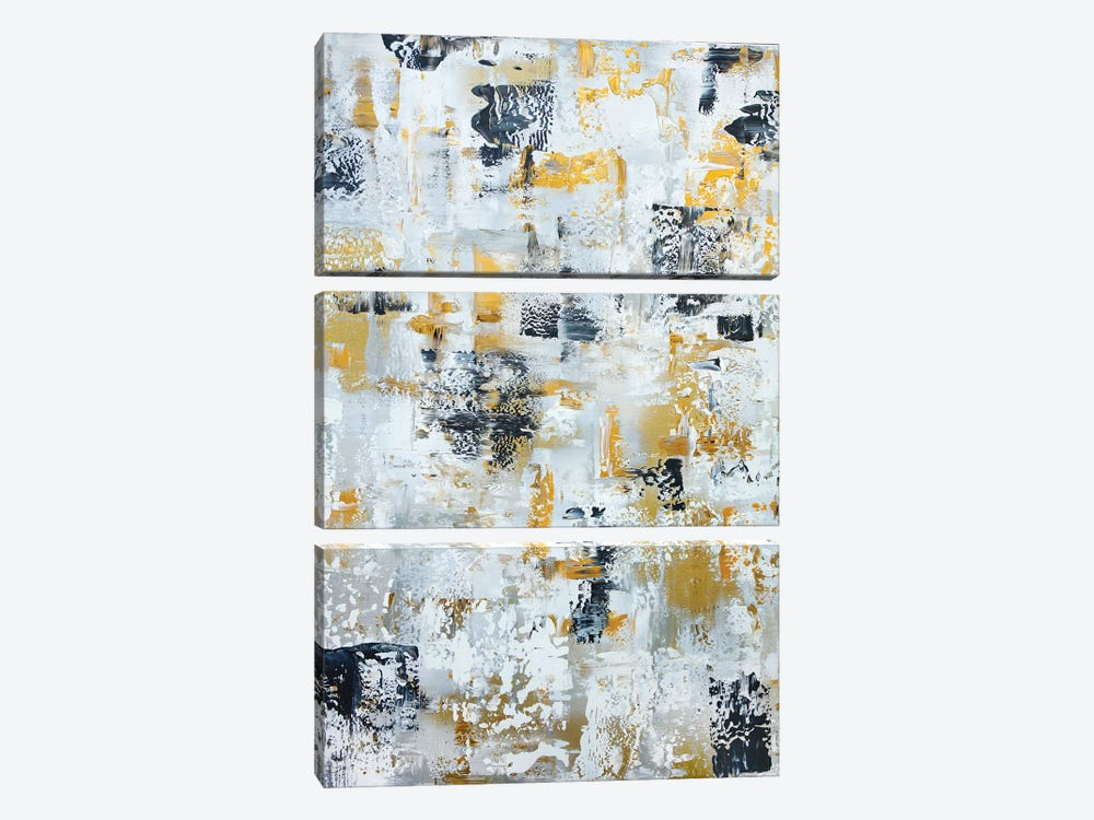 Silver Gray Gold Abstract by Marcy Chapman 3-piece Canvas Wall Art