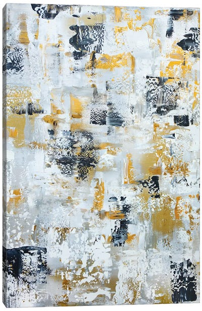 Silver Gray Gold Abstract Canvas Art Print
