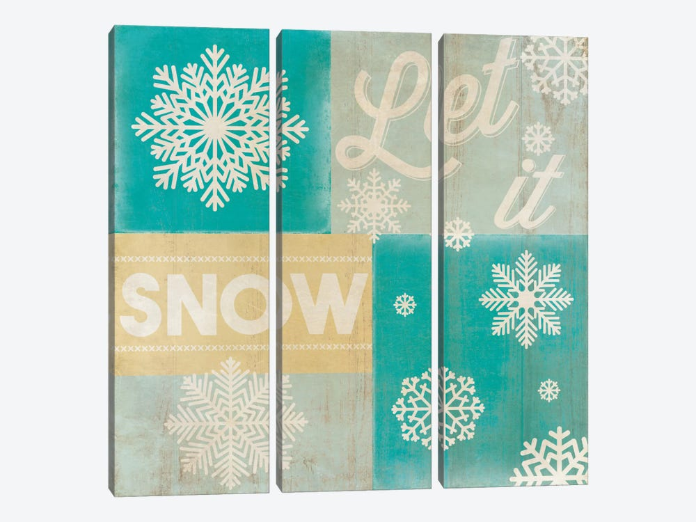 Hoping For A Snow Day by 5by5collective 3-piece Canvas Art Print