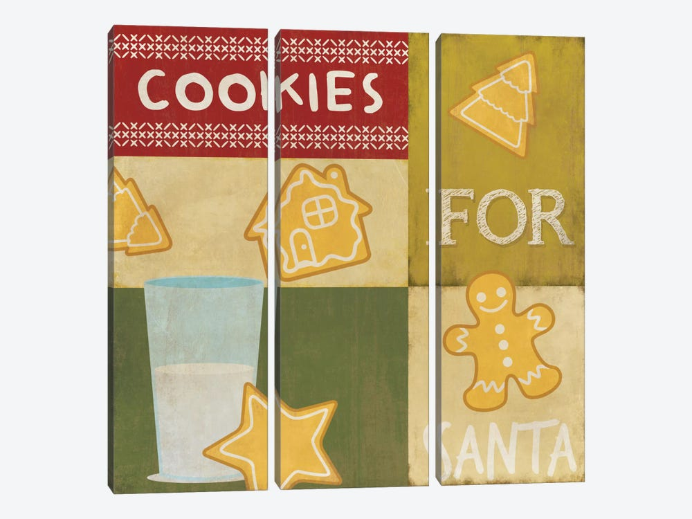 Keeping Santa Fat by 5by5collective 3-piece Canvas Wall Art