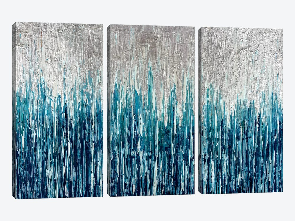 Silver Showers by Nikki Chauhan 3-piece Canvas Wall Art