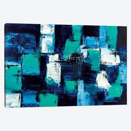 Blue & Teal Canvas Print #CHU24} by Nikki Chauhan Canvas Artwork