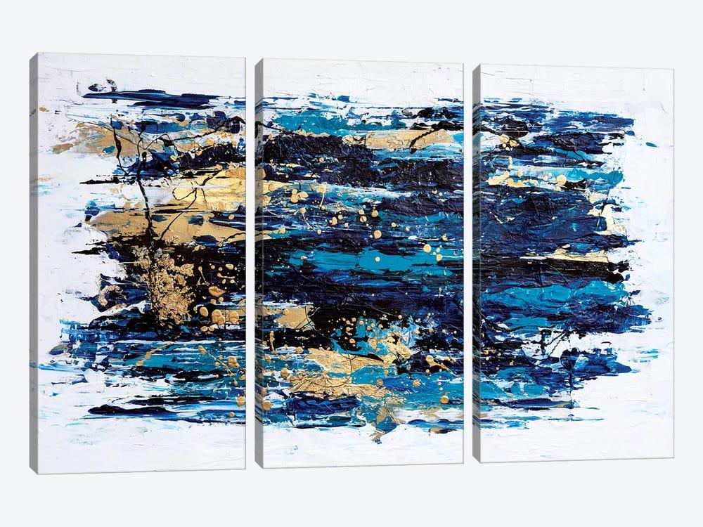 Blue Tide by Nikki Chauhan 3-piece Canvas Print