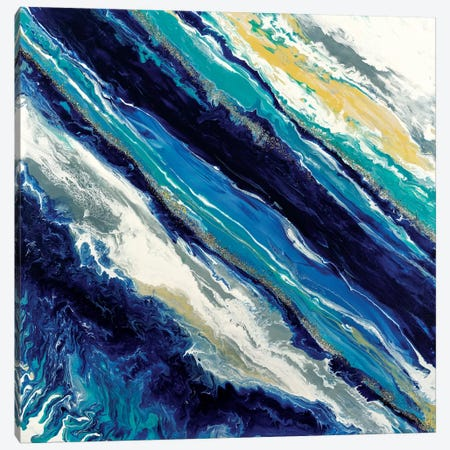 Blue Waves Canvas Print #CHU5} by Nikki Chauhan Canvas Artwork
