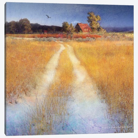 Yellow Road Canvas Print #CHV1} by Christopher Vest Canvas Art