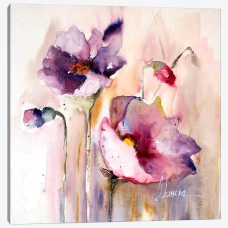 Plum Poppies I Canvas Print #CIA11} by Leticia Herrera Canvas Art Print