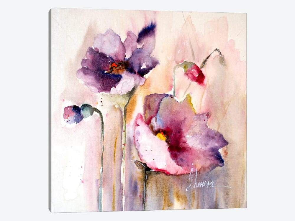 Plum Poppies I by Leticia Herrera 1-piece Art Print