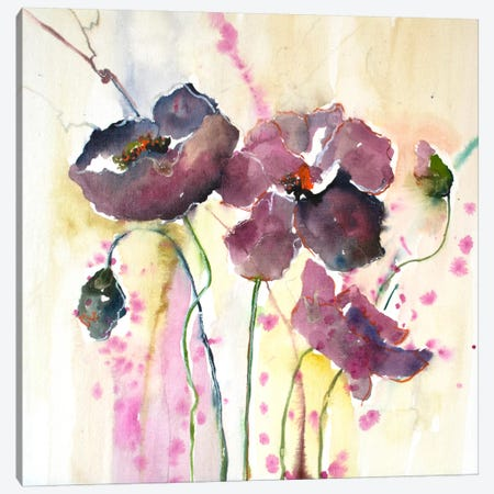 Plum Poppies II Canvas Print #CIA12} by Leticia Herrera Art Print