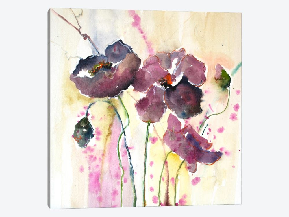 Plum Poppies II by Leticia Herrera 1-piece Canvas Wall Art