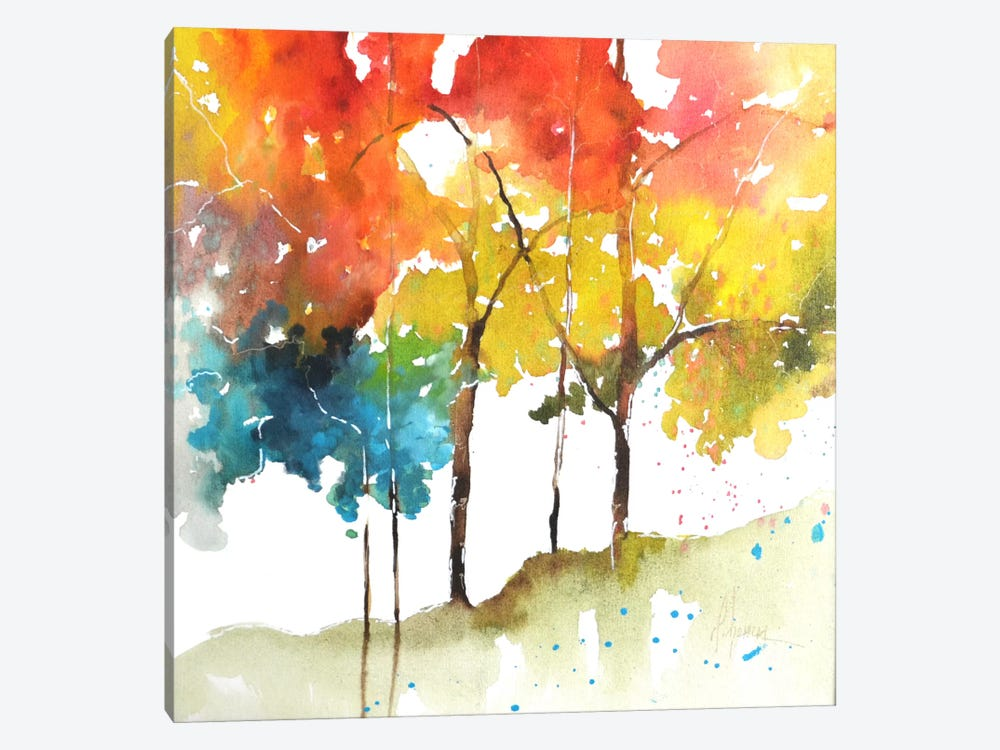 Rainbow Trees II by Leticia Herrera 1-piece Canvas Wall Art