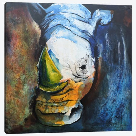 Rhino Canvas Print #CIA16} by Leticia Herrera Canvas Artwork