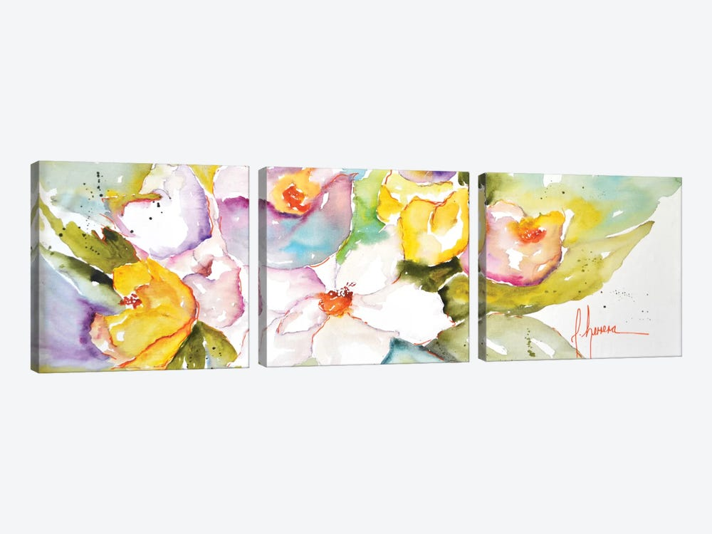 Horizontal Flores IV by Leticia Herrera 3-piece Canvas Wall Art