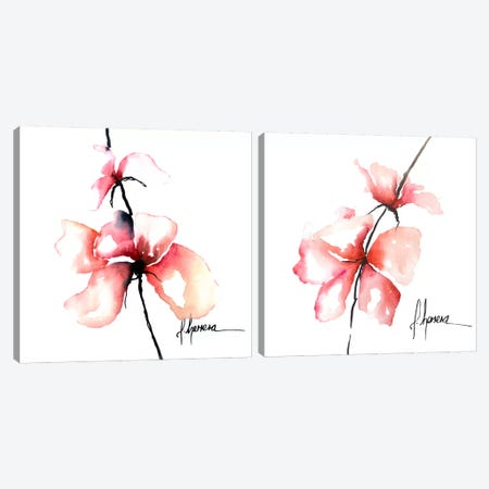 Bold Floral Diptych Canvas Print Set #CIA2HSET001} by Leticia Herrera Art Print