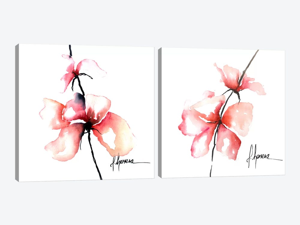 Bold Floral Diptych by Leticia Herrera 2-piece Canvas Art Print
