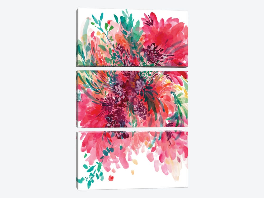 Floral Fearless by CreativeIngrid 3-piece Canvas Art Print