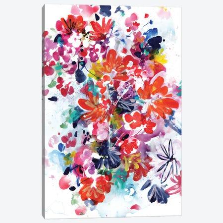 Floral Fireworks Canvas Print #CIG18} by CreativeIngrid Art Print