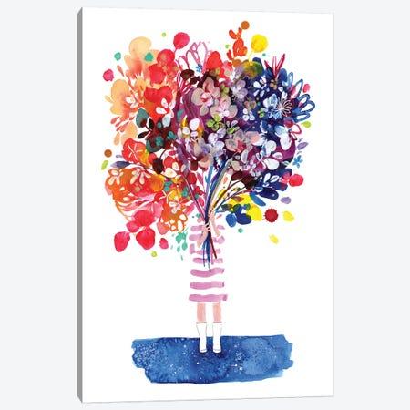 Woman With Flowers Canvas Print #CIG50} by CreativeIngrid Art Print
