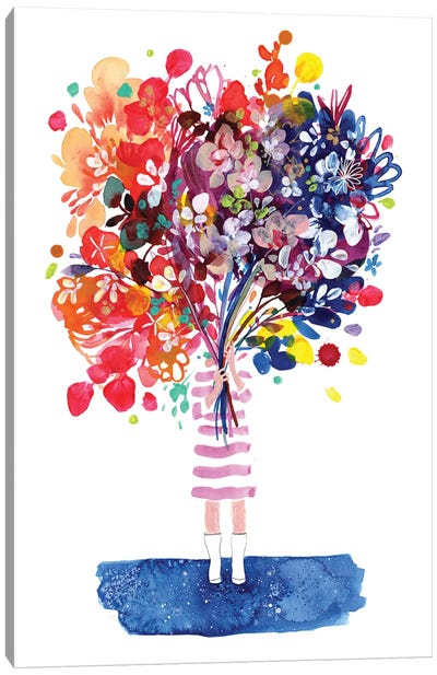 Woman With Flowers Canvas Art Print