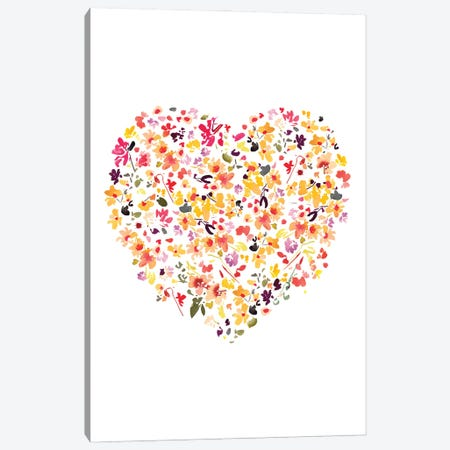 Floral Heart White Canvas Print #CIG56} by CreativeIngrid Canvas Artwork