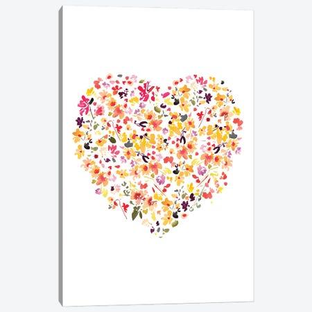 Floral Heart White Canvas Print #CIG56} by CreativeIngrid Canvas Artwork