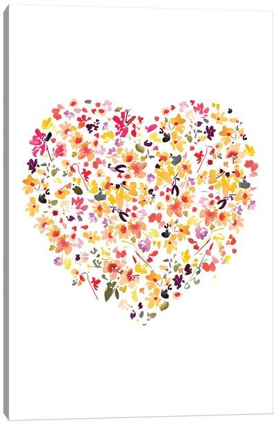Floral Heart White Canvas Art Print