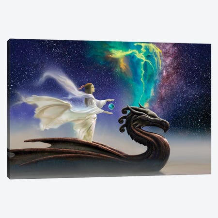 Cosmic Dragon Canvas Print #CIL18} by Ciruelo Canvas Art