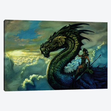 Amazon Dragon Canvas Print #CIL5} by Ciruelo Canvas Print