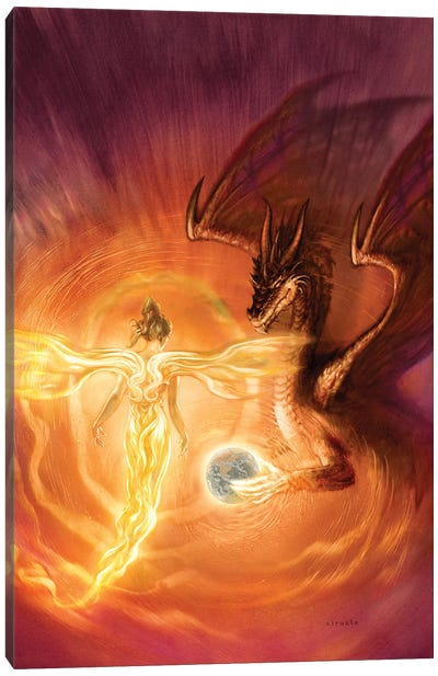 Angel Dragon Canvas Art Print