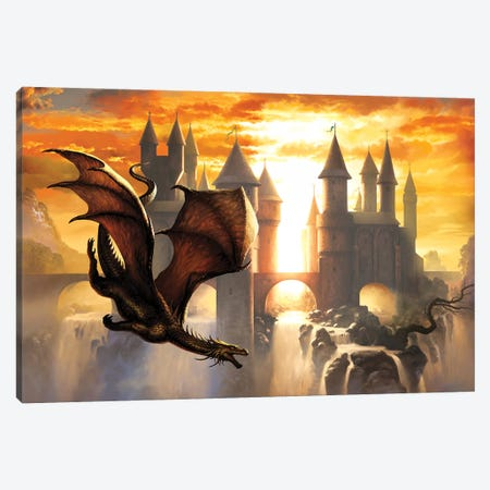 Sunset Dragon Canvas Print #CIL88} by Ciruelo Canvas Art Print