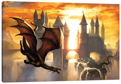 Sunset Dragon Canvas Art Print
