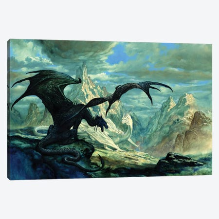 Talking Dragon Canvas Print #CIL89} by Ciruelo Canvas Print