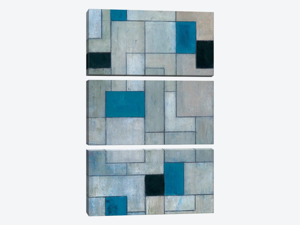 Grey Matters Black and Blue by Stephen Cimini 3-piece Canvas Wall Art