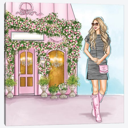 Pink Boutique And A Lovely Chic Girl Canvas Print #CIO15} by Criss Rosu Canvas Wall Art