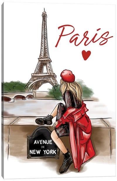 Girl In A Red Coat In Paris Canvas Art Print