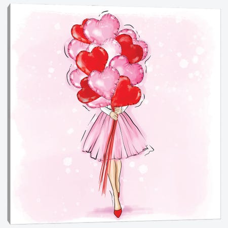 Fashion Girl With Red And Pink Ballons Canvas Print #CIO1} by Criss Rosu Art Print