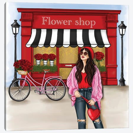 Fashion Girl In Front Of A Red Shop Canvas Print #CIO23} by Criss Rosu Canvas Art