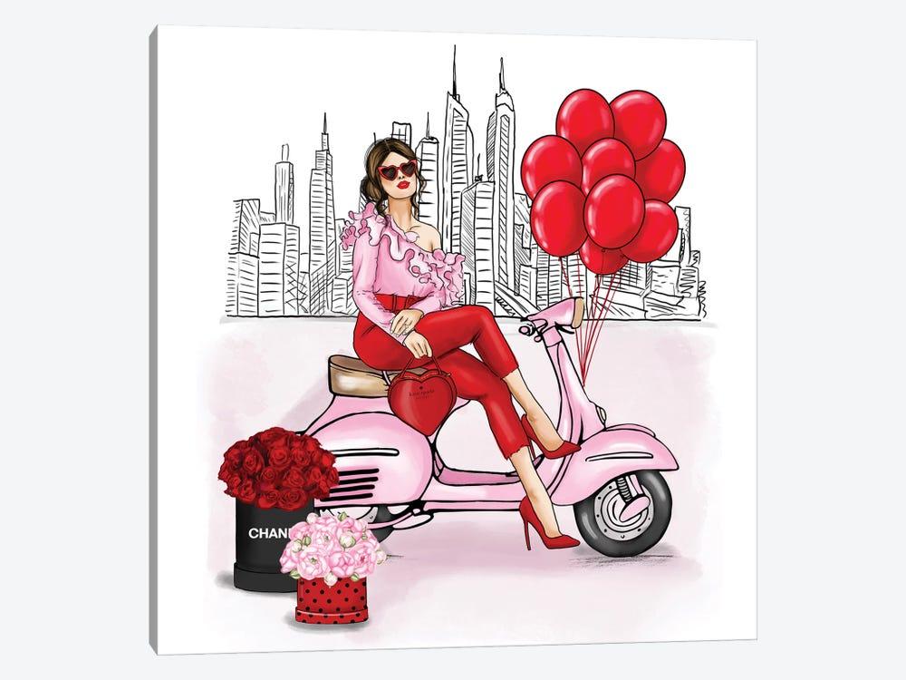 Fancy Girl On A Vespa In New York by Criss Rosu 1-piece Canvas Artwork