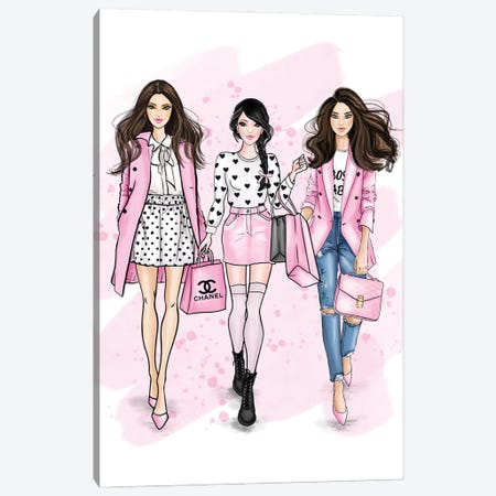 Fancy Pink Girls Canvas Print #CIO31} by Criss Rosu Canvas Art Print