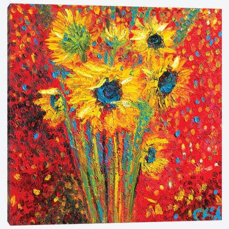 Red Sunflowers Canvas Print #CIR132} by Chiara Magni Canvas Artwork