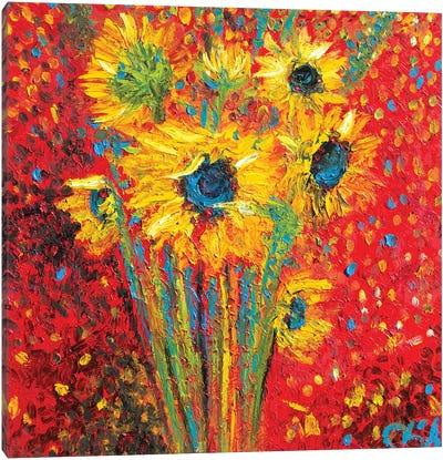 Red Sunflowers Canvas Art Print