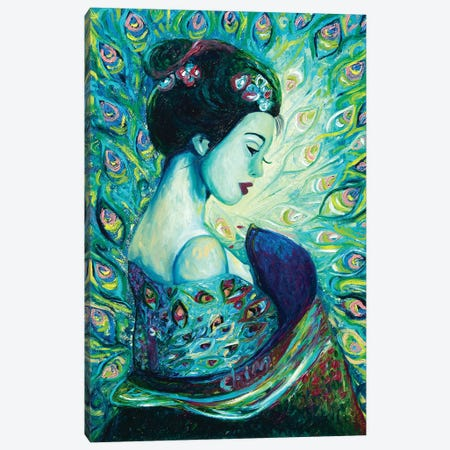 Silk Peafowl Canvas Print #CIR160} by Chiara Magni Canvas Print