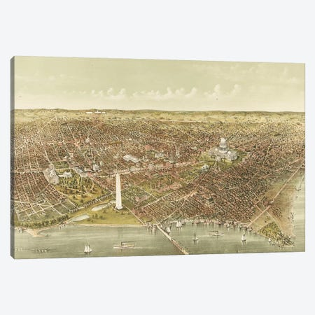 The City of Washington: Bird's-Eye View from the Potomac looking North, 1892  Canvas Print #CIV10} by Currier & Ives Canvas Artwork
