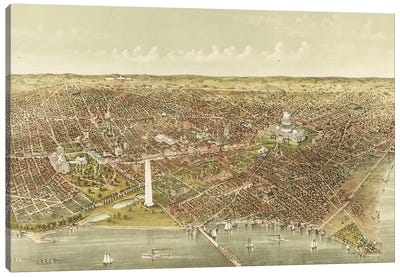 The City of Washington: Bird's-Eye View from the Potomac looking North, 1892  Canvas Art Print