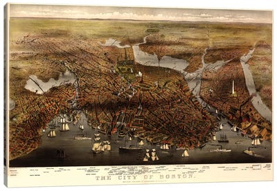 Boston Map, 1873 Canvas Art Print
